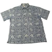 Reyn Spooner Lahaina Sailor Tailored Fit Sport Shirt XL reverse print aloha camp