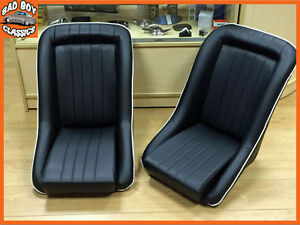 Pair BB1 WHITE Piping Classic Style Clubman Bucket Sports Seats + Runners