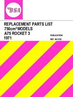 BSA A75 Rocket 3 Replacement Parts List Manual Catalogue Motorcycle 1971 on CD