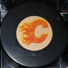 Vintage Viceroy CALGARY FLAMES Hockey NHL Puck  Made in Canada SUPER CLEAN