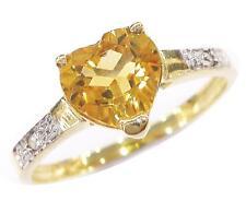 BEAUTIFUL 10KT YELLOW GOLD HEART CITRINE & DIAMOND RING SIZE 7  R1287