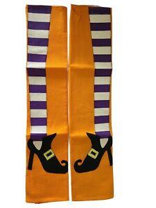 Set of 2 Orange Halloween Kitchen Tea Towels Witch Leg Pattern New