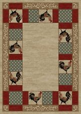 Barnyard Area Rug Runner Lodge Cabin Rooster Chicken Country Beige Matching Set