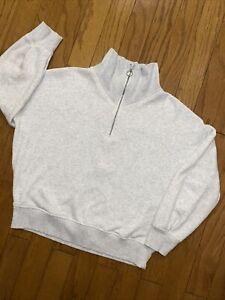 ATHLETA Cozy Karma 1/4 Zip Pullover Sweatshirt Heathered Gray Women's Medium