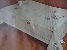 "Vintage Cross Stitch Sealed Kit Tablecloth Botanical Floral 60"" X 80"" Finished"