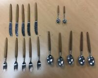 Antique Norway Flatware 5 Serving Set Silverware Wooden Handle Fork Spoon Knife