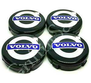 4x Volvo Alloy Wheel Centre Hub Caps 64mm Black & Blue C30 C70 S40 V50 S60 V70