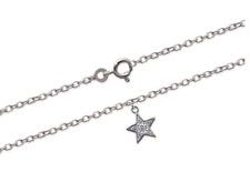 Chaîne De Cheville étoile et cristal Argent Massif 925/000 Bijoux Femme