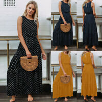 UK Womens Maxi Long Dress Swing Beach Ladies Summer Spotted Stretchy Sundress