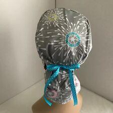 Ponytail Cap Scrub Hat - Multi color on Gray