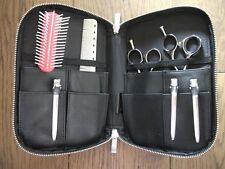 Black Genuine Leather Stylist Hairdressing Salon Scissor Brush Comb Case Holster
