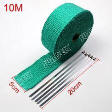 WRAP 50MM X 10M X 2MM + 5 STAINLESS STEEL TIES 2100F GREEN EXHAUST HEAT 1-PCS