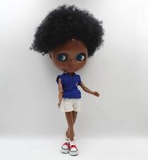 "12"" Takara Blythe From factory Nude Doll Short Black Hair Super Black Body"