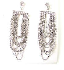 Argento Art Deco Catenina Orecchini 1920s Grande Gatsby Diamante Pendente