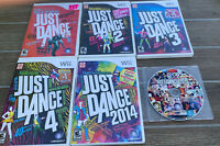 Lot of 7 Nintendo Wii Games: Just Dance + 2 + 3 + 4 + 2014 + 2015 ( 5 Of 6 CIB)
