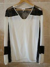 Top blouse écrue blanc cassé American rétro taille 40 soie et dentelle noire