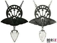 Restyle Crystal Moon Moth Wicca Witchcraft Goth Pendant Quartz Metal Necklace