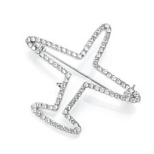Fashion Airplane Cubic Zirconia Silver Plated Pins Brooches Unisex Jewelry Gift