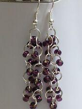 Lovely Gorgeous Amethyst Purple Cz Glass bead chainmaill earrings SterlingSilver