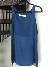 Bruno Pieters Navy Blue Silk Top In Size 40