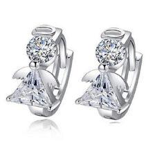 Pair of Guardian Sterling Silver Hoop 925 Cubic Zirconia Angel Stud  Earrings