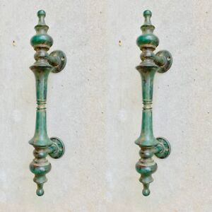 """2 large DOOR handle pull solid real 2 SPUN 100% brass antique green12 """" B"""