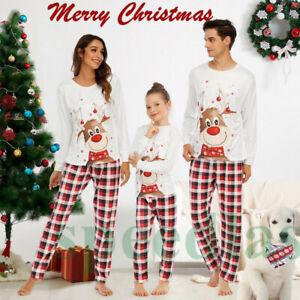 Family Matching Adult Kids Christmas Pyjamas Xmas Nightwear Pajamas PJs Sets KU