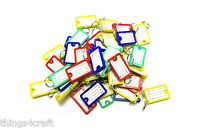 "Key Ring Tags - Mixed Colours - 43mm x 26mm (1.75"" x 1"" Approx) - UK"