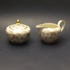 Johann Haviland Bavaria Pink Yellow Roses 02056 Cream & Sugar Set Victorian