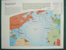 WW2 WWII MAP BATTLE OF THE ATLANTIC III APRIL - DEC 1941 US MERCHANT AIR ESCORT