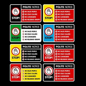 Stop Cold Calling Door Sticker - No Canvassers Callers Sign