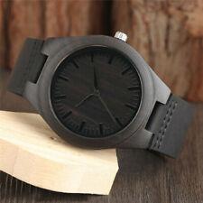 Men's Wood Leather Band Bamboo Quartz Watch Casual Women Sport Wrist Strap Black
