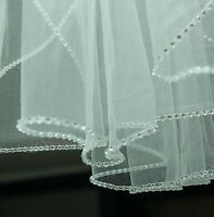 1-Layer White/Ivory Elbow Length Rhinestone Edge Wedding Bridal Veil With Comb