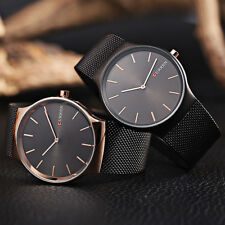Mens Ultra-thin Dial Stainless Steel Mesh Strap Band Quartz Analog Wrist Watch