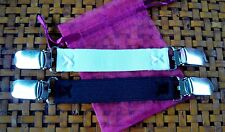 """2 Stretch DRESS CINCH CLIPS 3/4"""" wide w/ Safety Insert and Pouch Black and White"""