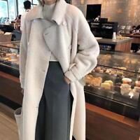 Women Faux Lamb Fur Long Trench Coat Jacket Warm Korean Outwears Winter Parka V5