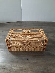 Vintage Wicker Tissue Box Cover Natural Color Rattan Rectangle Victorian