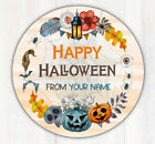 """48 Personalized Happy Halloween Treat Bag Stickers Candy Goodie Bag Labels 1.67"""""""