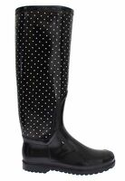 NEW DOLCE & GABBANA Boots Shoes Womens Black Polka Rubber Rain Knee EU37 / US6.5