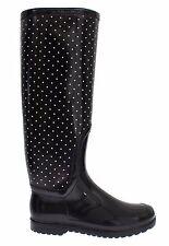 NEW DOLCE & GABBANA Boots Shoes Womens Black Polka Rubber Rain Knee EU38 / US7.5