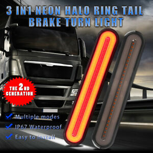 2X LED Flowing Reverse Stop Brake Turn Signal Rear Tail Light Bar Pickup Truck
