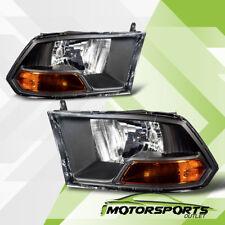 2009-2017 Dodge Ram 1500/10-17 2500 3500 Black Housing Headlights HeadLamps Pair
