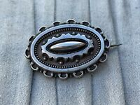 Victorian Mourning Brooch Sterling Silver Repousse Pin Antique Costume Jewellery