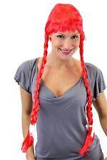 Perücke Damen rot lange geflochtene Zöpfe Pony Alm Heidi Oktoberfest Tracht
