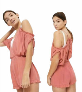 NWT Topshop Deep Rose Pink Romper Shorts SMALL Cold Shoulder Open Front