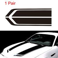 2pcs Car Racing Sports Stripes Hood Black Decal Vinyl Bonnet Sticker Accessories