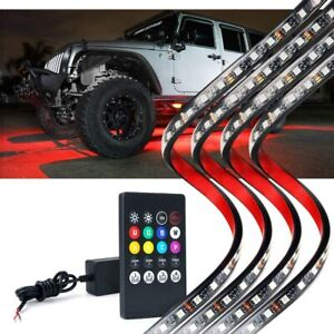 4x Car Underglow Neon Accent Lights LED Kit 8 Color Wireless Remote Light Strips