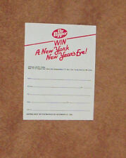 5 Unused 1982 Dr Pepper 'Win A New York New Year's Eve' Contest Entry Forms