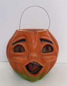 Antique Old Vintage 1940s Paper Mache Jack O Lantern Halloween Singing Pumpkin