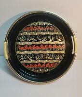 Vintage Lacquer Ware Tray Black Gold Round Japan